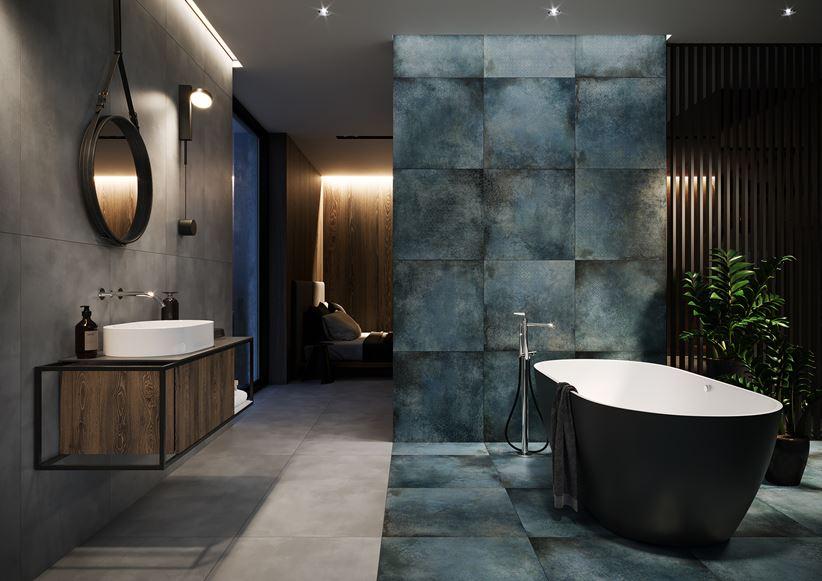 Szaro-niebieska łazienka w betonowych płytach