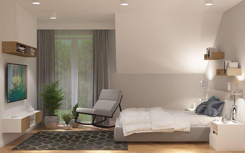 Nowoczesna sypialnia z fotelem bujanym
