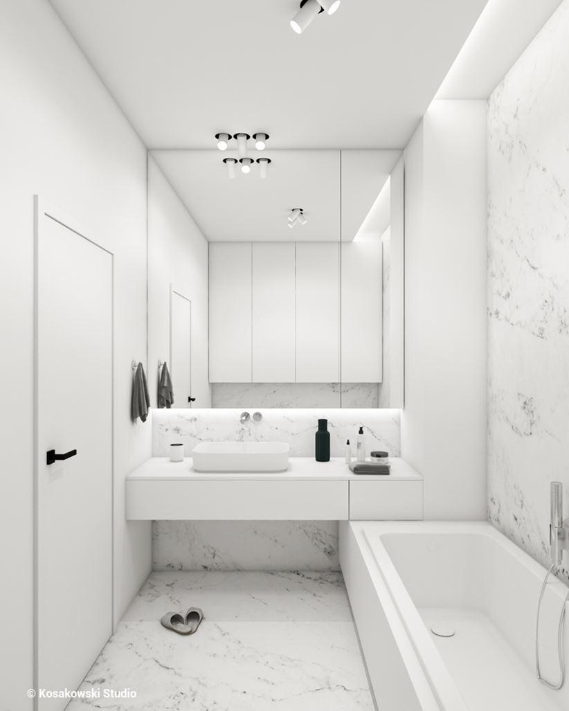 Mała łazienka z białym marmurem