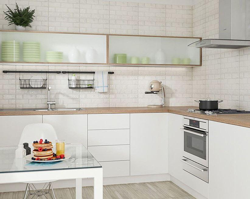 Aranżacja kuchni z ceglastą ścianą