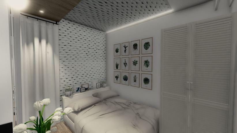 Sypialnia skandynawska z szafą w zabudowie