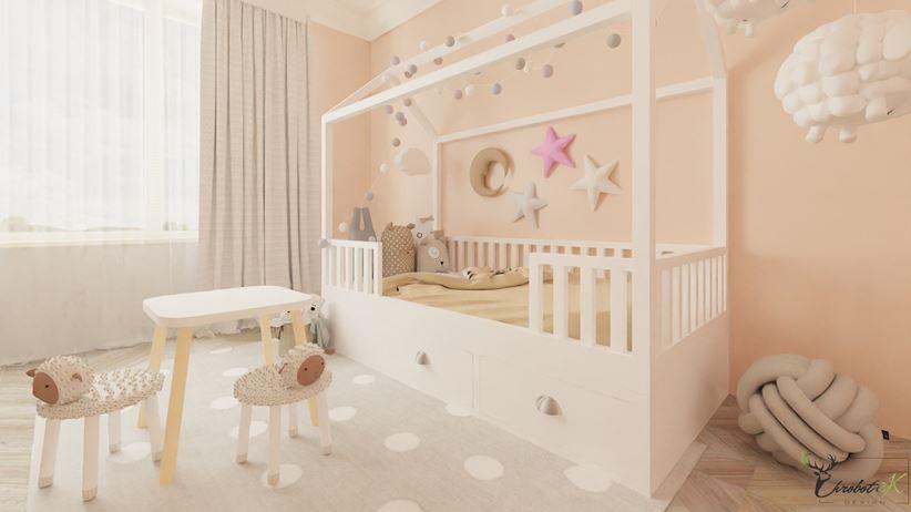Białe łóżeczko-domek dla dziewczynki