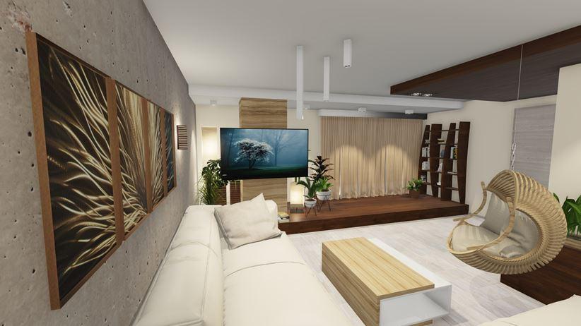 Salon z dodatkiem betonu i drewna