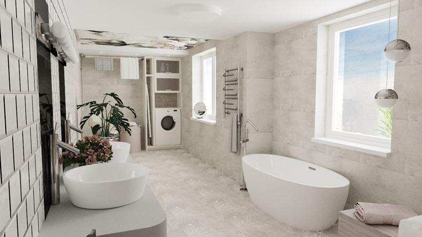 Łazienka z pralnią w zabudowie