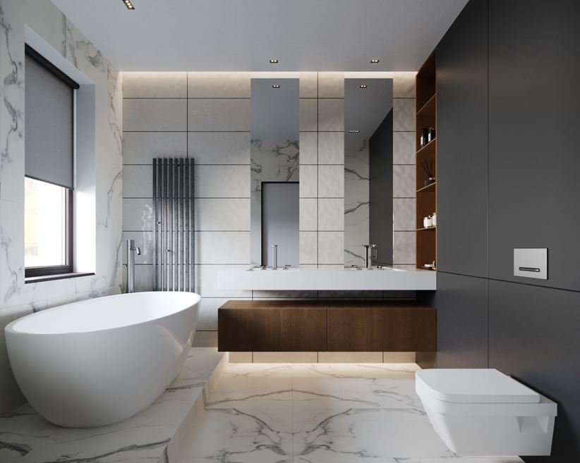 Łazienka dla dwojga | wanna wolnostojąca - RB Architects