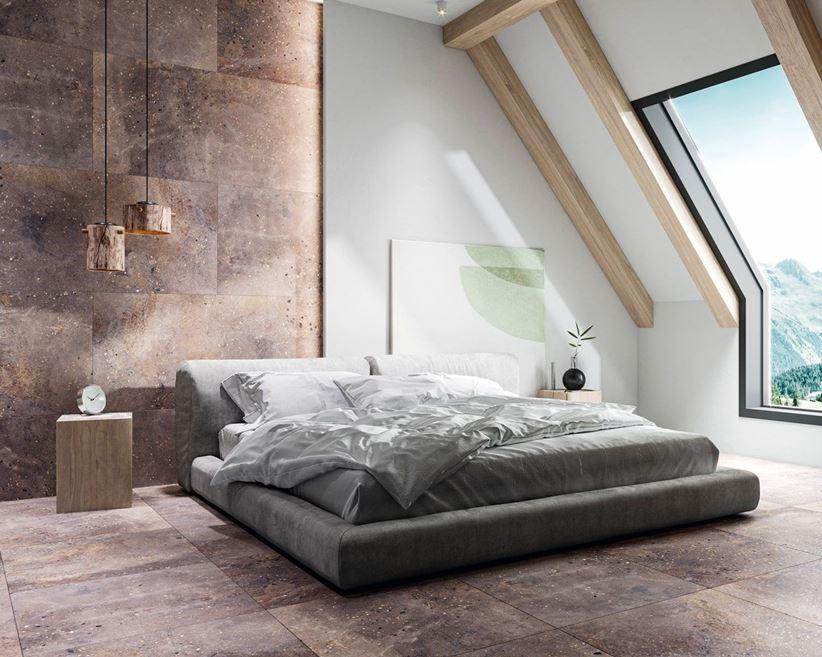 Nowoczesna sypialnia w płytkach w kolorze taupe