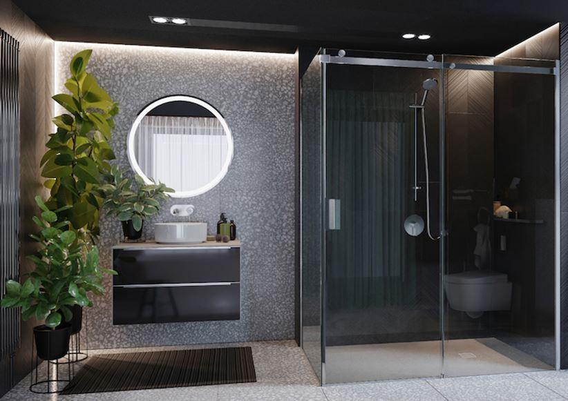 Aranżacja łazienki z kabiną prostokątną
