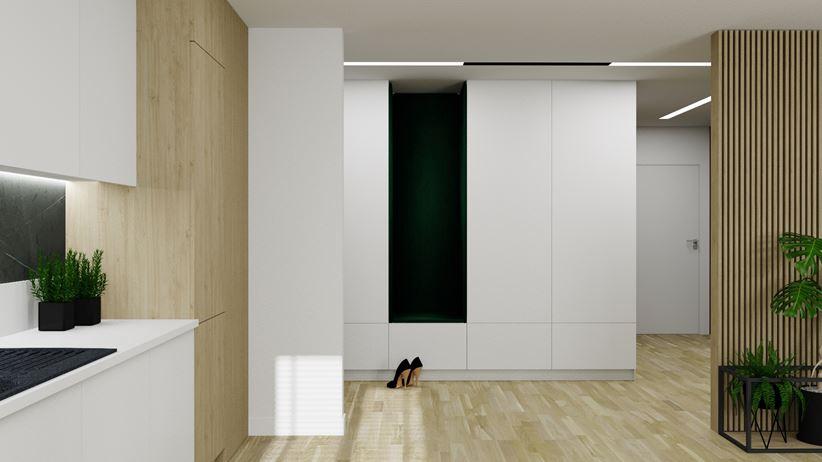 Pomysł na przechowywanie - szafy w zabudowie w małym mieszkaniu