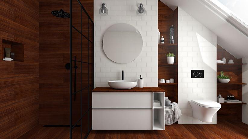 Biało Brązowa Aranżacja łazienki Na Poddaszu Domnipl