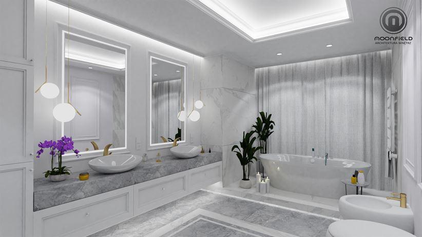 Marmur w łazience - przestronna, jasna przestrzeń