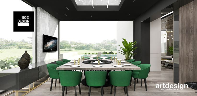 Zielone fotele w jadalni