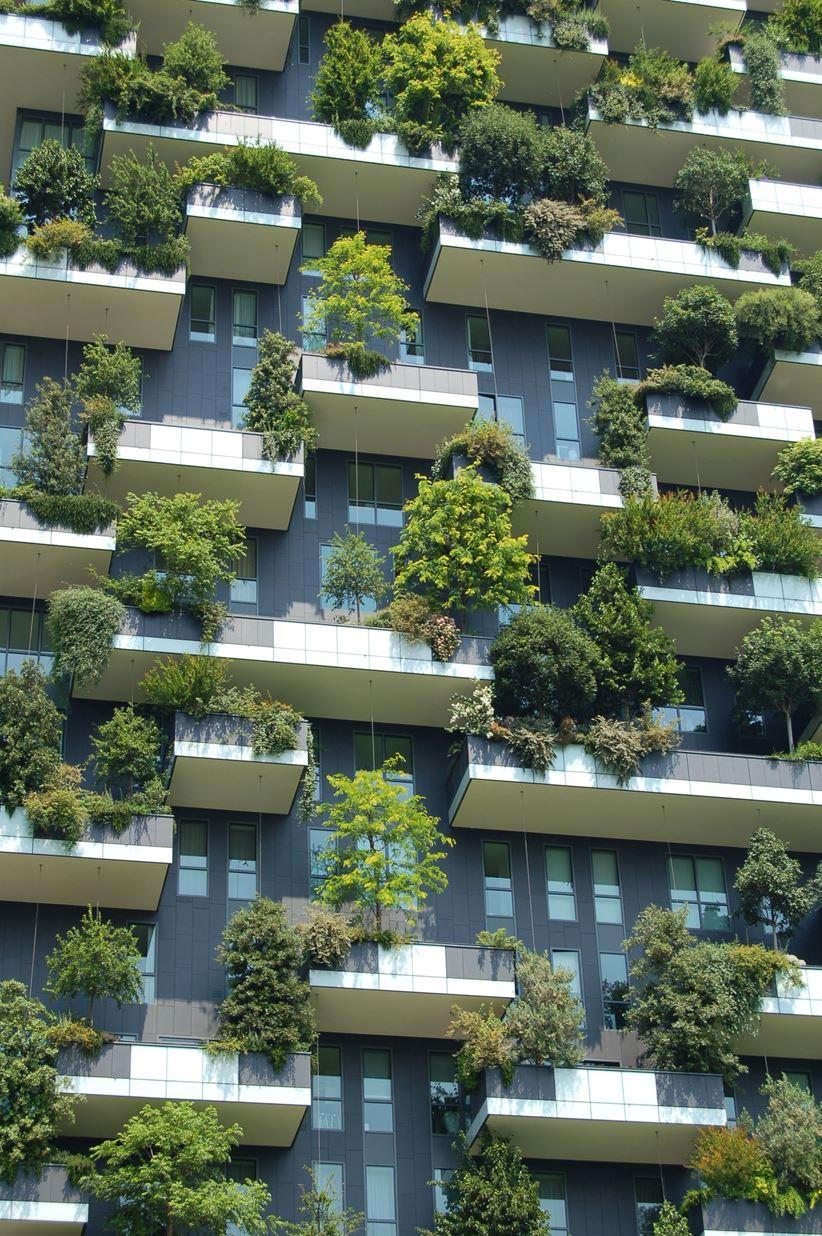 Elewacja nowoczesnego budynku z zielonymi ogrodami
