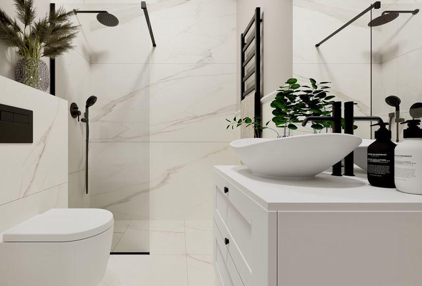 Monochromatyczna łazienka z marmurami