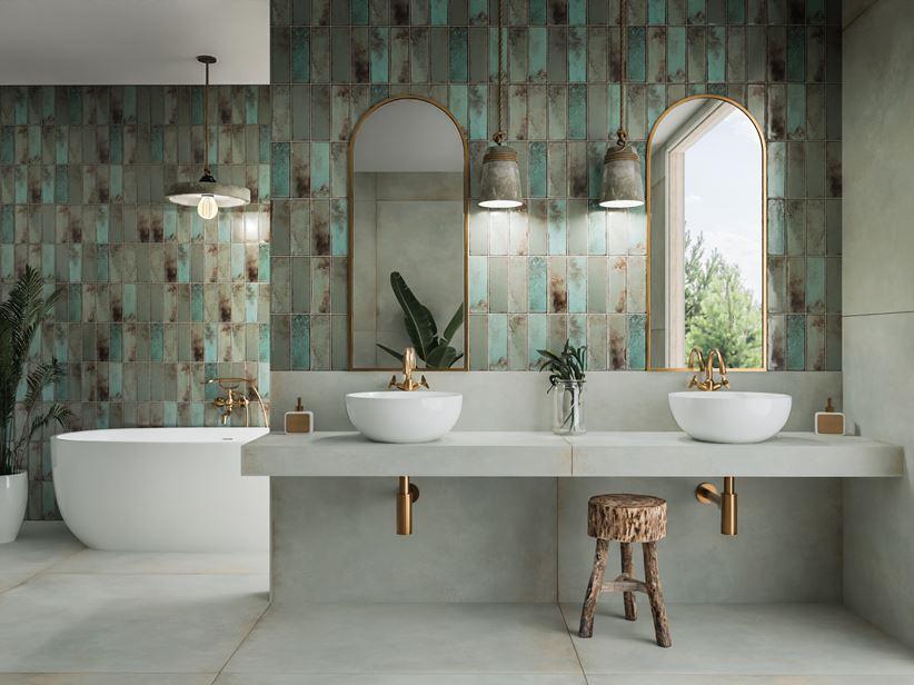 Szaro-zielona łazienka w kaflach Tubądzin Curio