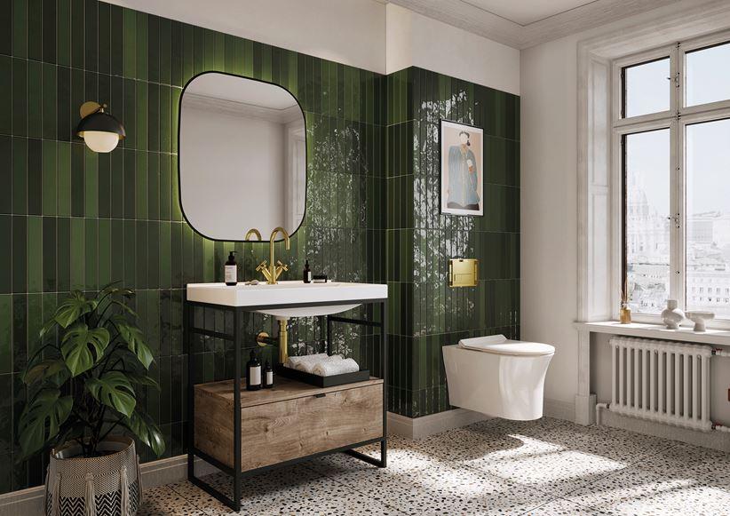 Stylowa łazienka w zielonych kaflach