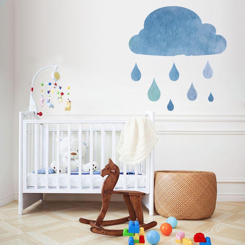 Te urocze chmurki w dziecięcym pokoju to naklejki ścienne od Pixers