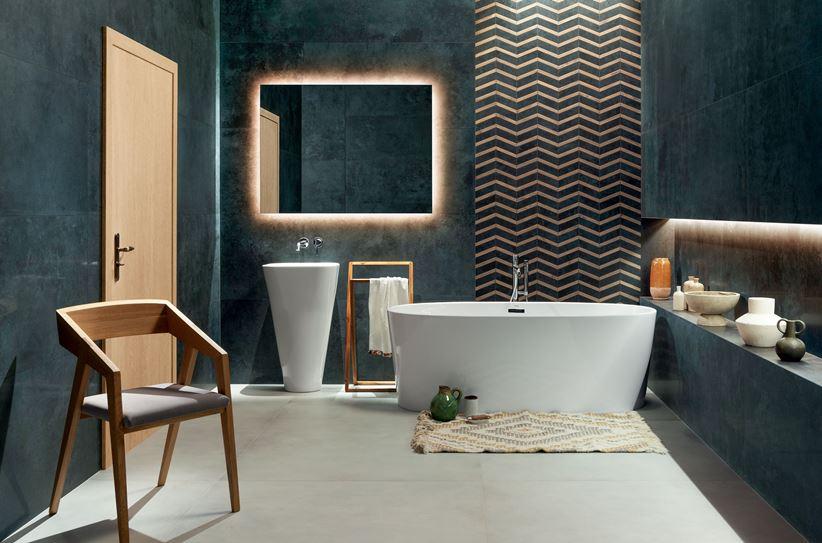 Łazienka z płytką Tubądzin Torano Anthrazite