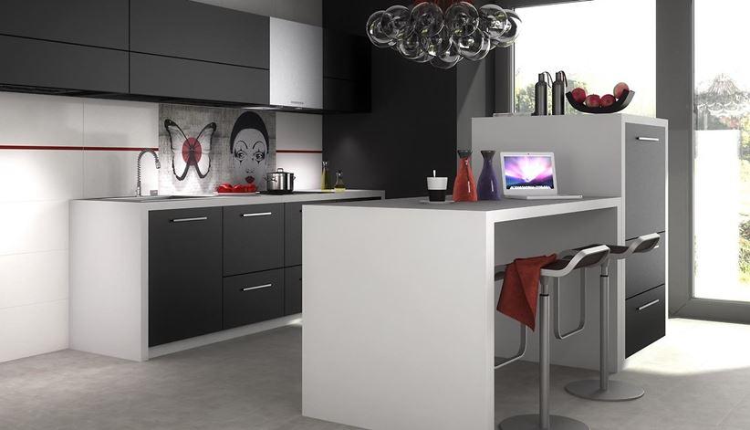 Aranżacja nowoczesnej kuchni w czerni i bieli