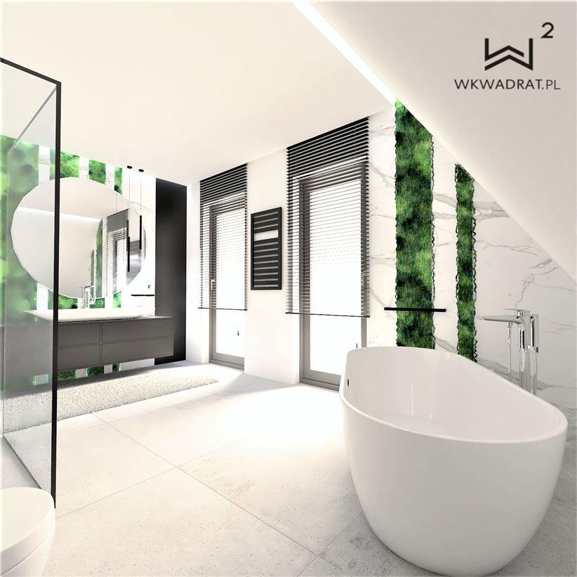 Biało-zielona łazienka na poddaszu