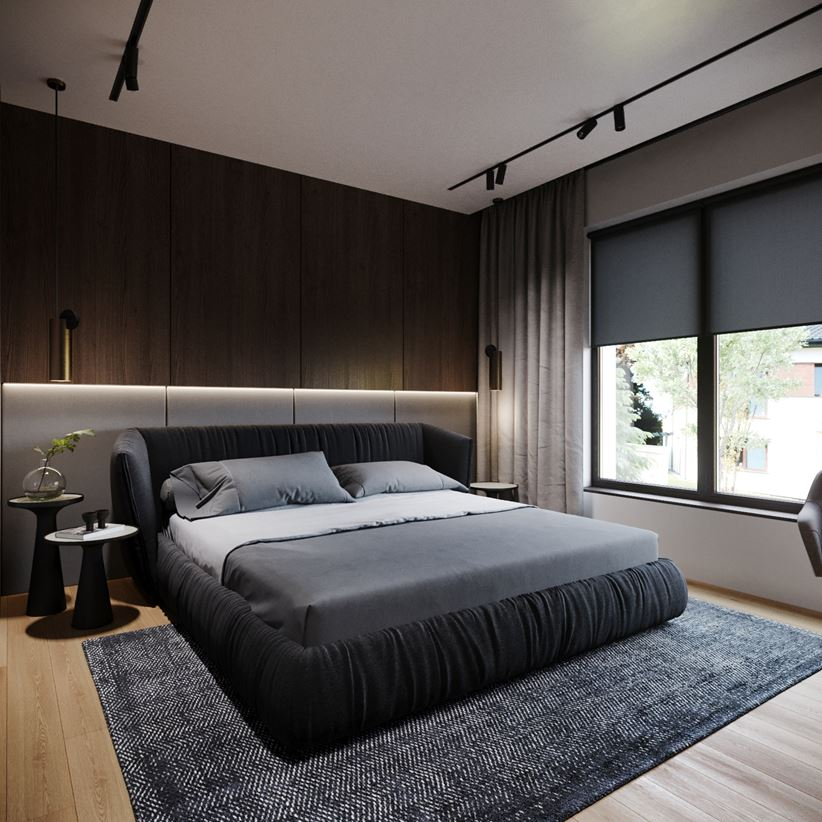 Minimalistyczna sypialnia w ciemnych kolorach