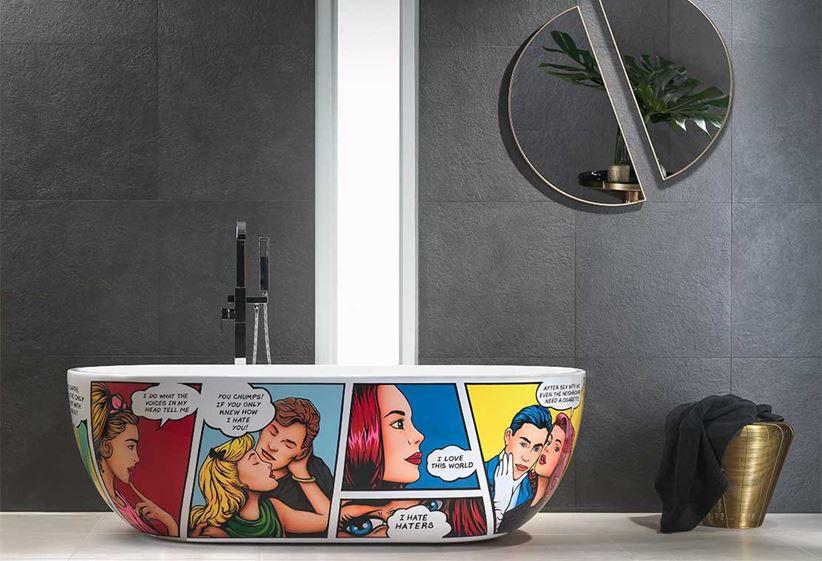 Nowoczesna łazienka z kolorową wanną