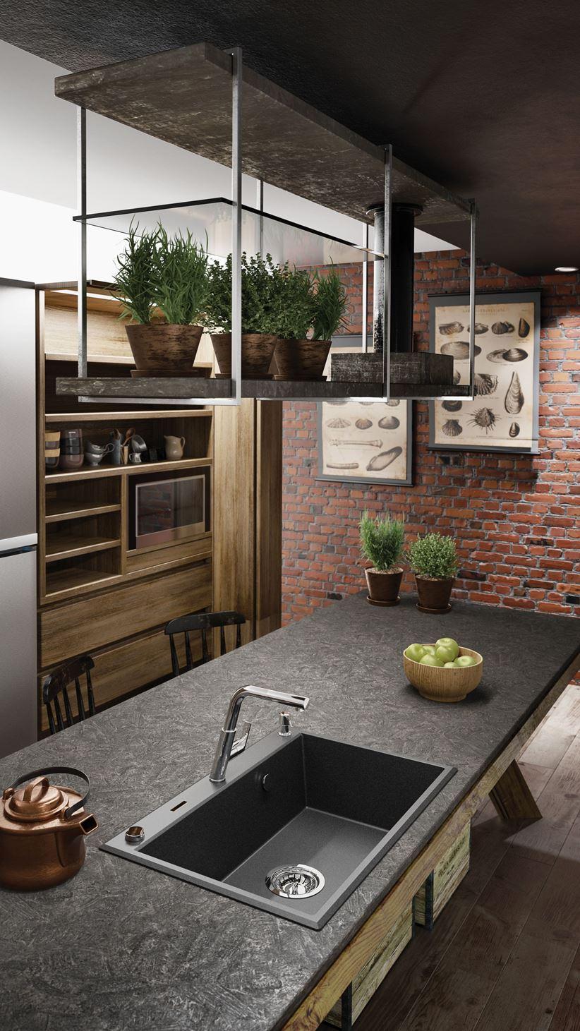 Industrialna kuchnia z granitowym zlewozmywakiem Eridan