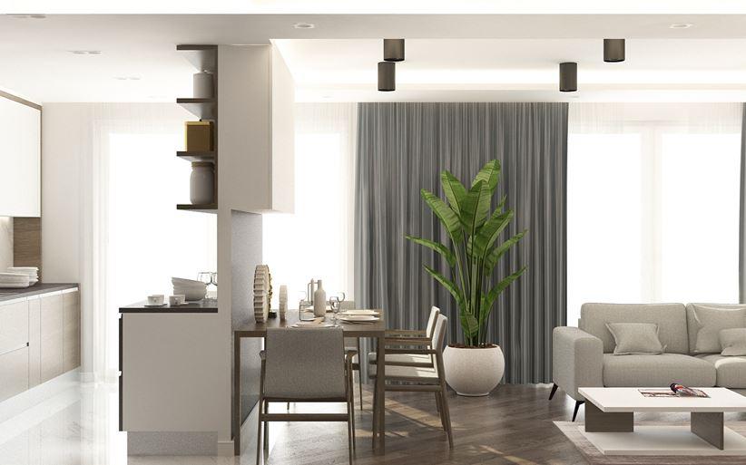 Salon oddzielony ścianką działową od kuchni