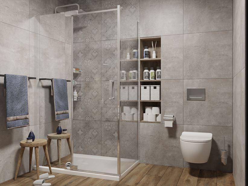 Szara płytka typu patchwork w kabinie prysznicowej - Cerrad Softcement