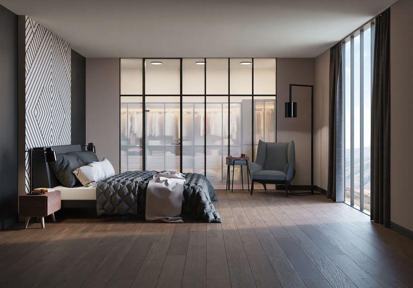 Sypialnia w drewnie z dekoracyjnym panelem