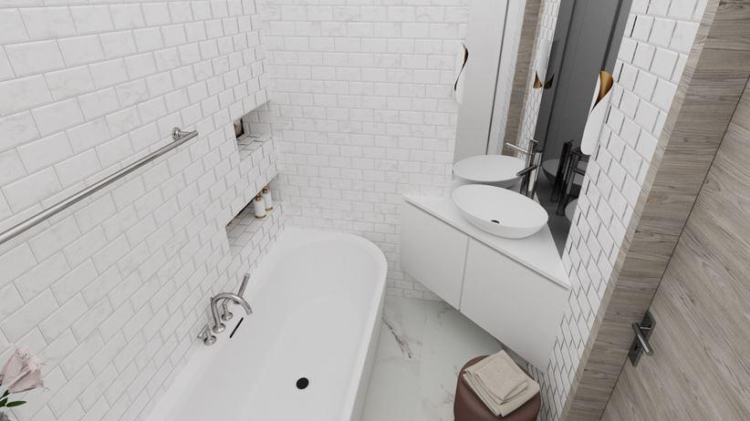 Ceglana łazienka
