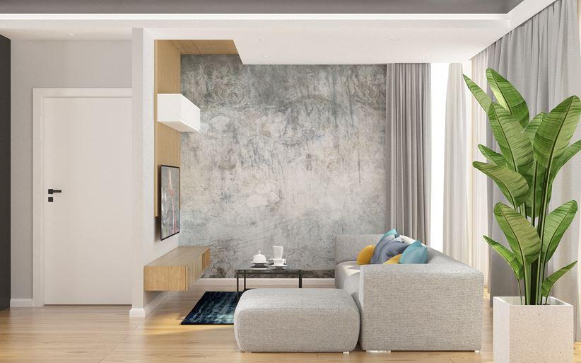 Salon z drewnianą ścianka TV