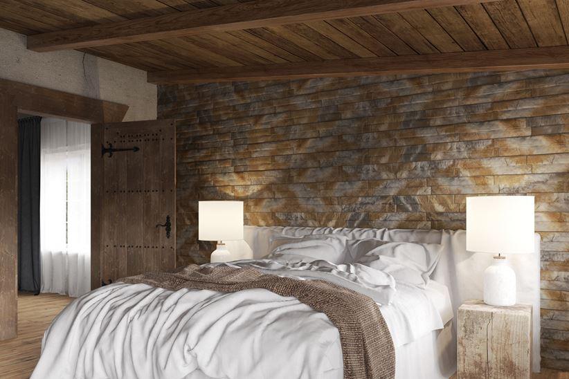 Ściana w sypialni wykończona kamienień dekoracyjnym Stone Master Amberia Natrual