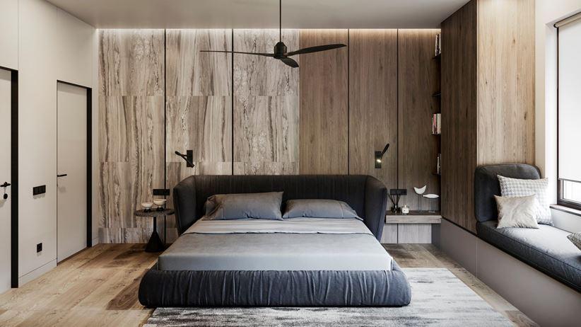 Pomysł na drewno w sypialni - RB Architects