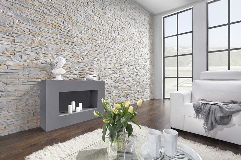 Salon z kamienną ścianą Stone Master Roma Szary