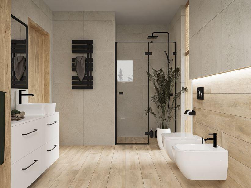 Jasny kamień i drewno w stylowej łazience z oknem