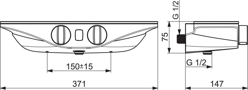 Bateria natryskowa termostatyczna z programem odnowy ciała Wellfit Oras Esteta Wellfit rysunek