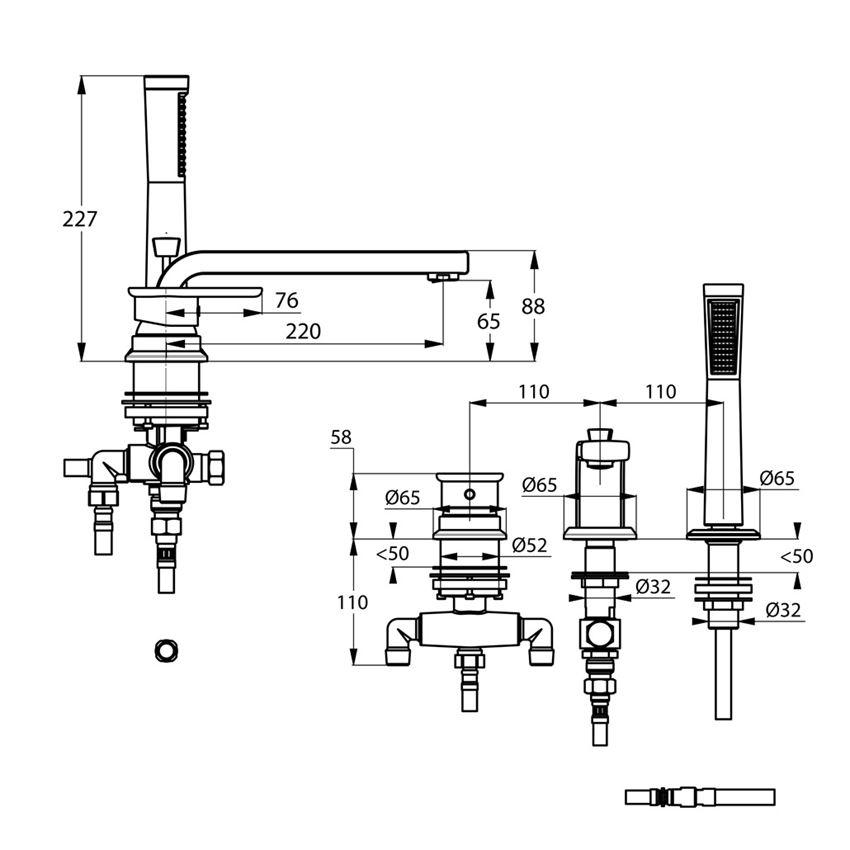 Bateria wannowo-prysznicowa nawannowa Kludi E2 rysunek techniczny