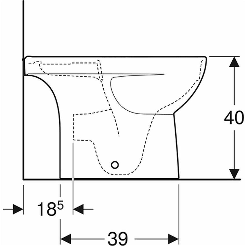 Miska kompaktowa owalna krótka Rimfree bez deski odpływ uniwersalny Koło Nova Pro Premium rysunek