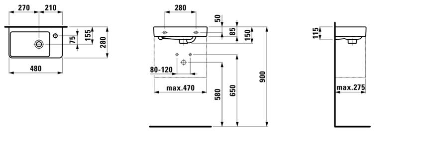 Mała umywalka półka na baterię z prawej strony 48 cm Laufen Pro S rysunek