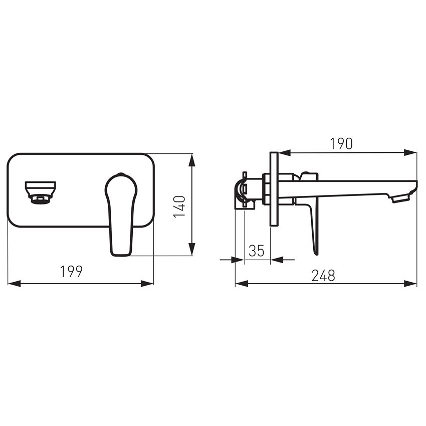 Bateria umywalkowa podtynkowa Ferro Adore rysunek techniczny