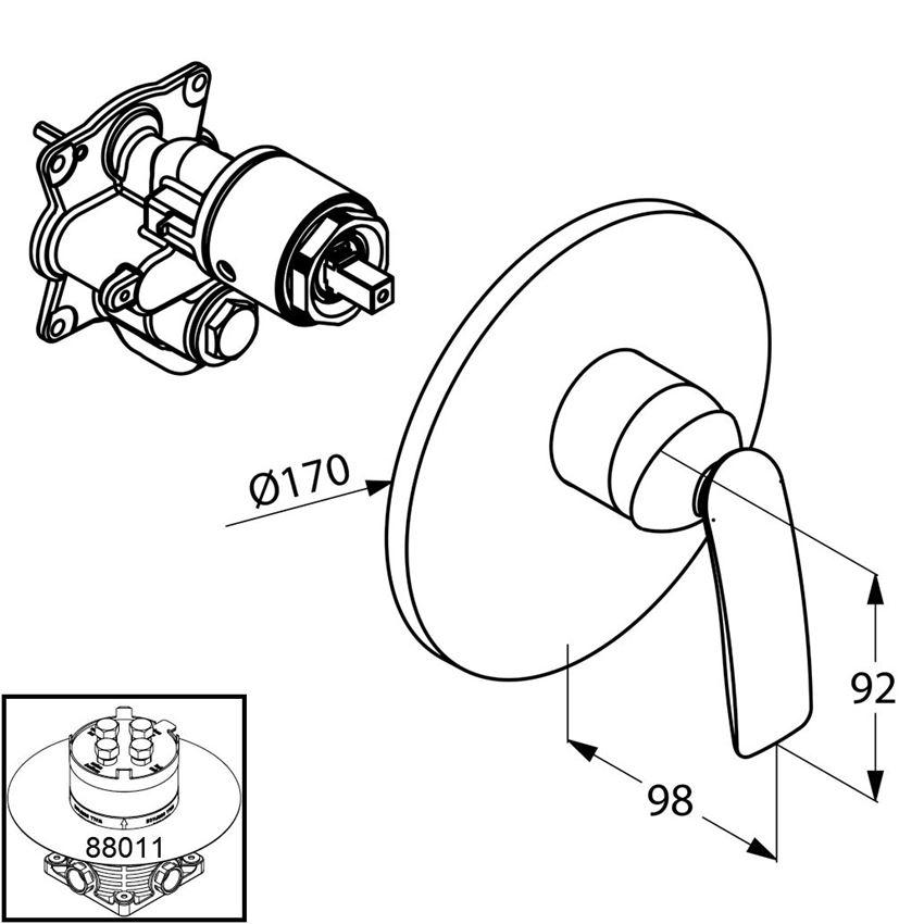 Podtynkowa bateria prysznicowa element zewnętrzny Kludi Balance rysunek techniczny
