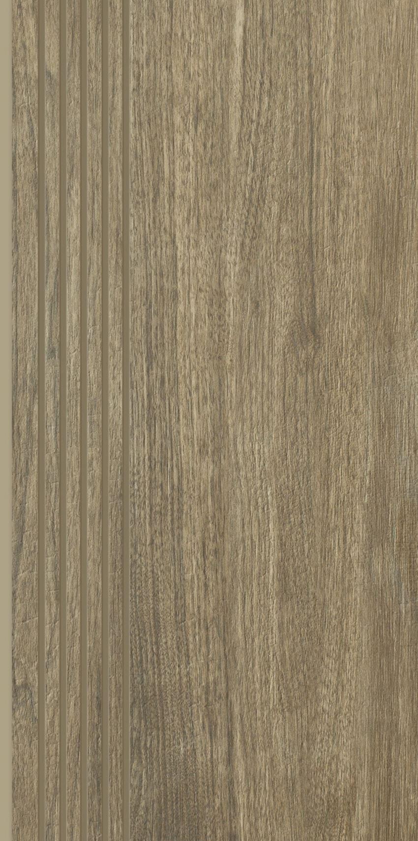 Płytka stopnicowa 29,8x59,8 cm Paradyż Almonte Brown Stopnica Prosta Nacinana Mat