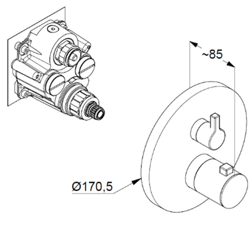 Podtynkowa bateria wannowo-natryskowa z termostatema Puristic element zewnętrzny rysunek