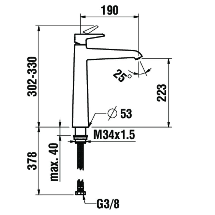 Bateria umywalkowa wysoka jednouchwytowa bez korka automatycznego Laufen Val rysunek techniczny
