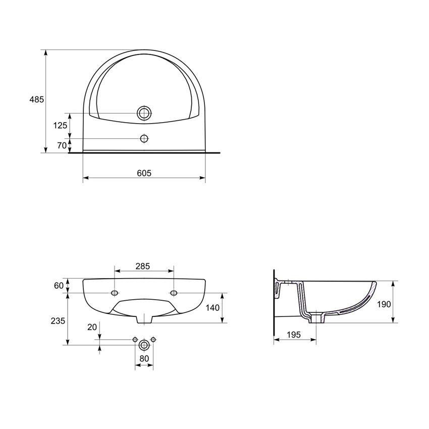 Umywalka wisząca 60 cm z otworem Cersanit President rysunek techniczny