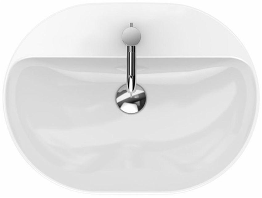 Umywalka stawiana na blat 60 cm eliptyczna z otworem i przelewem Koło VariForm