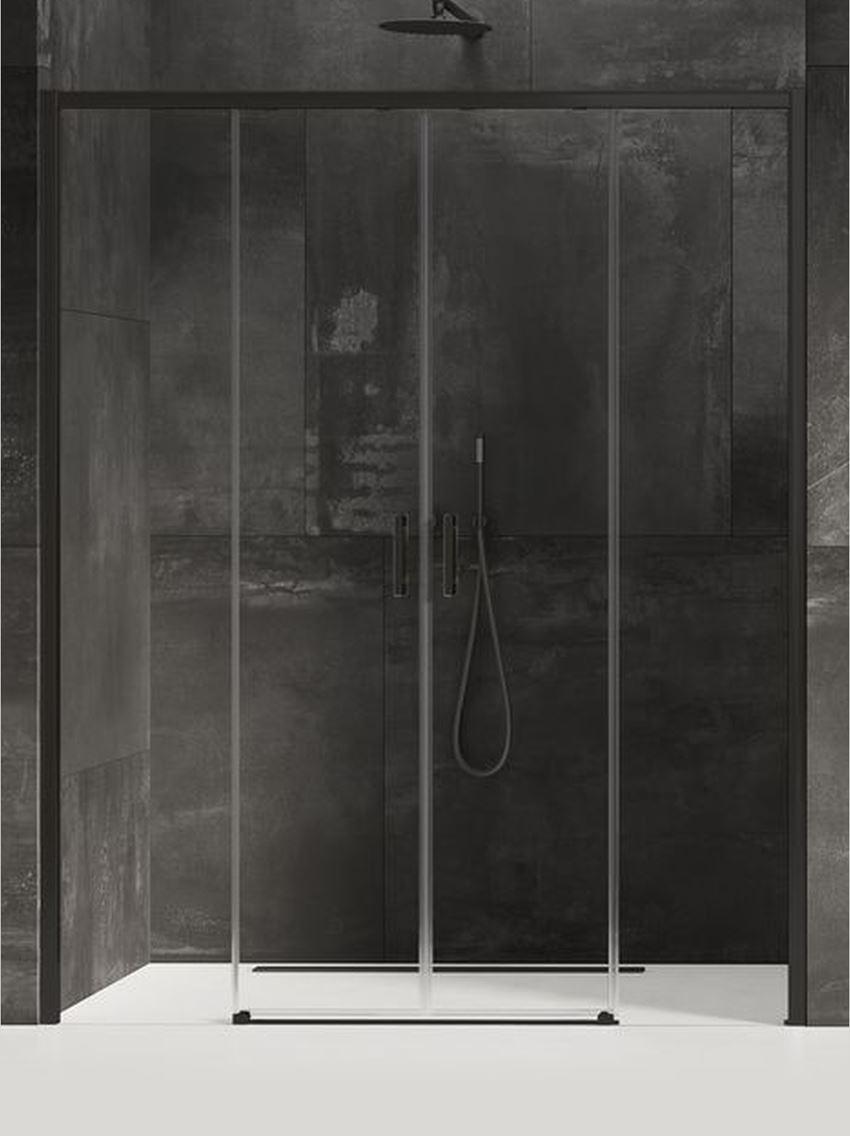 Drzwi prysznicowe podwójne przesuwne New Trendy Prime Black