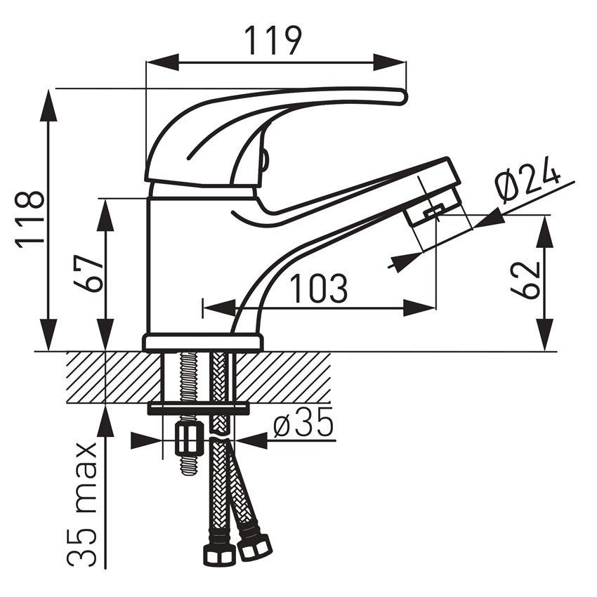 Bateria umywalkowa Ferro Vasto rysunek
