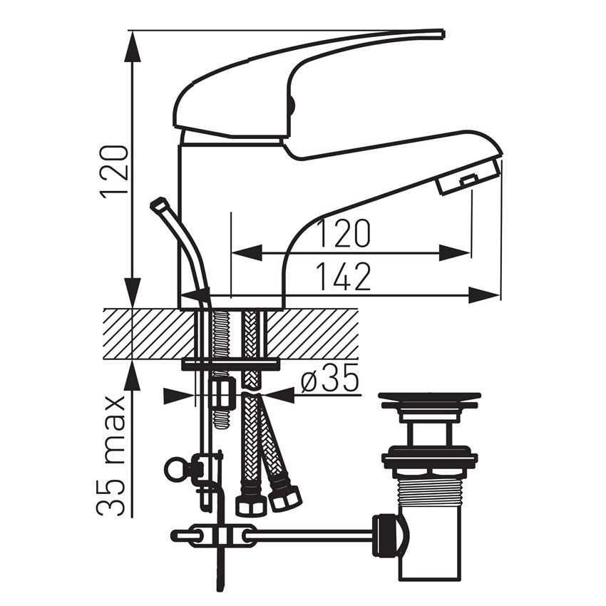 Bateria umywalkowa z korkiem Ferro Titania Iris rysunek techniczny