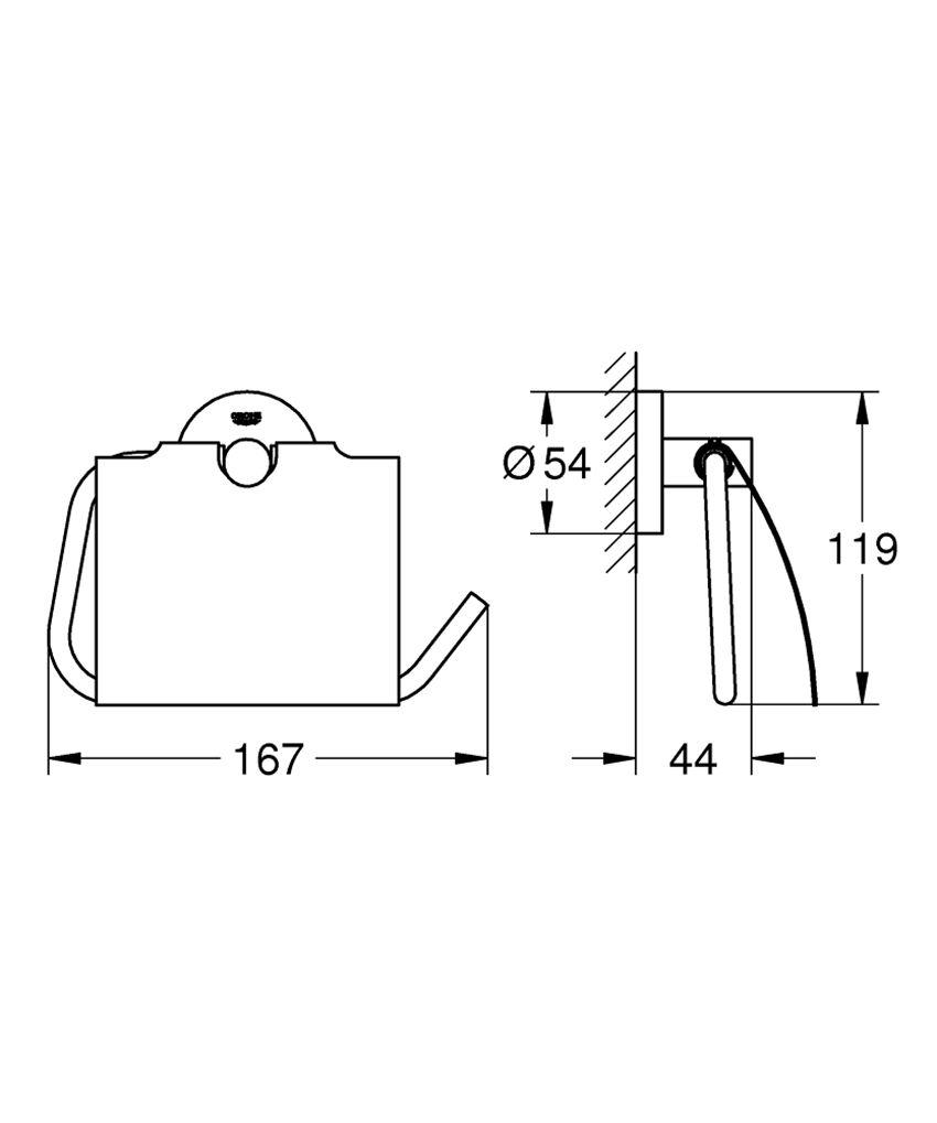 Uchwyt na papier z pokrywą Grohe Essentials rysunek techniczny